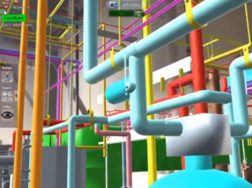 AR Mode in MobiLive showing BIM of plumbing pipes