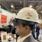 VDC at Autodesk university side view of VisualLive hardhat with HoloLens 2