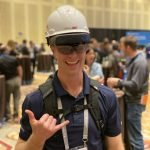 VDC at Autodesk university wearing VisualLive hardhat with HoloLens 2
