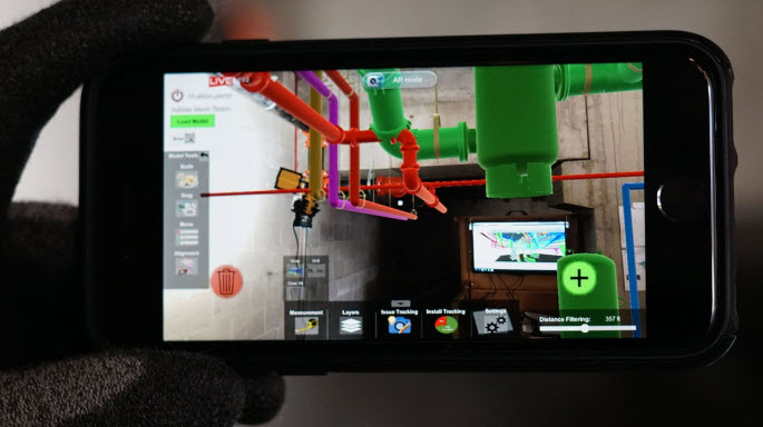 MobiLive Augmented Reality BIM on a mobile phone